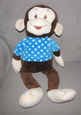 GOOD STUFF LARGE BIG STUFFED PLUSH DARK BROWN MONKEY BLUE WHITE POLKA DOT SHIRT