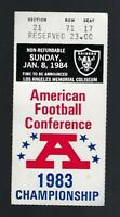 1983-84 NFL AFC CHAMPIONSHIP PLAYOFFS SEAHAWKS @ RAIDERS FOOTBALL TICKET STUB