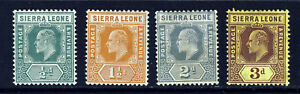 SIERRA LEONE King Edward VII 1907-12 New Colours Group SG 99 to SG 104a MINT