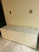 """Sideboard """"Flat"""" by Piero Lissoni for Cassina in gloss white w/ Carrara marble"""