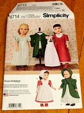 """Simplicity: Pattern #8714 Historical Costumes For 18"""" Dolls - New - 2 Outfits"""