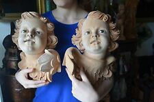 Large Hand carved Wood Cherub angel Head putti Santos Religious