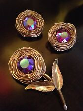 Spectacular Vintage Bergere Aurora Borealis Gold Tone Brooch & Clip On Earrings