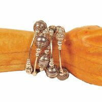 Silver Gray Glass Pearl Shell Silver Tone Charm Handmade Wrap Coil Bracelet