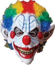 Scary Friight Sinister Clown Mask With Rainbow Hair Costume Fm65897