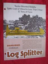 VINTAGE DANUSER HYDRAULIC TRACTOR MOUNTED LOG SPLITTER LITERATURE BROCHURE