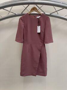 Brand New Womens Reiss Myra Cross Front 3/4 Sleeve Pink Dress Uk Size 8 RRP £185