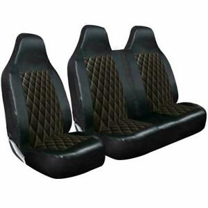 FORD TRANSIT (MK7) - DELUXE BLACK QUILTED DIAMOND LEATHER VAN SEAT COVERS 2+1
