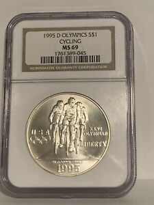 1995 D Olympics Cycling Commemorative Silver Dollar Coin MS69 NGC
