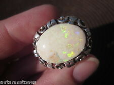 6 1/2 Handmade Vintage 830 Silver/Sterling 18x13 Solid Australian Opal Ring