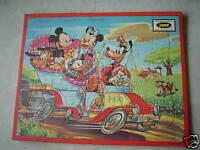 1950s Jaymar Disney Mickey Minnie Goofey Inlaid Puzzle