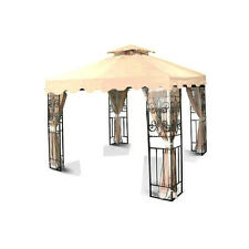 New 10'x10' Beige Two-Tiered with Scallop Replacement Gazebo Canopy Top