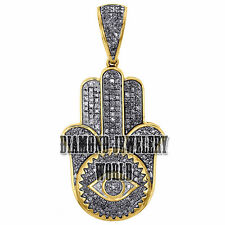 Stunning Evil Eye Hamsa Pendant Jewelry 2.76cts Genuine Rose Cut Diamond Silver