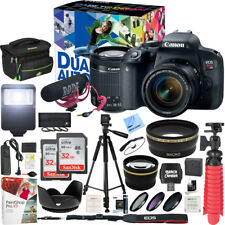 Canon T7i EOS Rebel DSLR Camera Video Creator Kit w/ 18-55mm Lens 32GB x2 Bundle