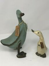 2 Hand Carved Crackle Painted Duck Figurines Named distressed antiqued country