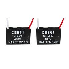 2pcs 400v 1uf Cbb61 Ceiling Fan Motor Running Capacitor 2 Wire 5060 Hz