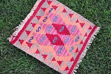 Turkish Handmade Art Decorative Pink Pretty Kilim Rug Chair Pad Table Cover Gift