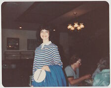 Vintage 80s PHOTO Smiling Girl w/ Number In Restaurant