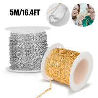 Stainless Steel Gold Steel Tone Cable Link Chain For DIY Necklace Jewelry Making