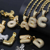 26 Initial Letter Necklace Alphabet A - Z Pendant Copper Chain Hip-Hop Jewelry