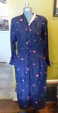 VINTAGE 1940's SATINY NAVY BLUE DRESS W RED / GOLD PRINT SHOULDER PADS & POCKETS