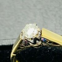 Vintage 18ct Yellow Gold 0.15ct Diamond Solitaire Ring Sz L 1/2 #575