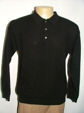 MENS FIELD GEAR POLO SWEATER SIZE L 100% CASHMERE MADE IN MACAU BLACK SOLID #84