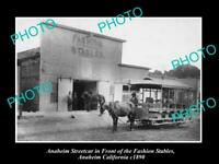 OLD POSTCARD SIZE PHOTO OF ANAHEIM CALIFORNIA VIEW OF THE FASHION STABLES 1890