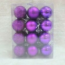 New Glitter Christmas Baubles Xmas Tree Ornament Hanging Ball Decor 3cm 24 pcs