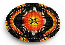 Red Black Orange Seed Beaded Turtle Beadwork Pattern Belt Buckle Handmade X15008