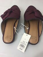A New Day Women's Size 7 Holland Mules Red Plaid Slip-On Sandals Shoes NWT
