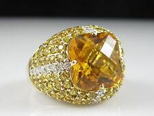 Ariel Citrine Yellow Sapphire Diamond Ring 14K Yellow Gold Dome 8.02ctw Size 8