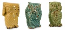 "Set of 3 Colorful Wise Owls See No Evil Ceramic Figurines Distressed Finish 6"" T"