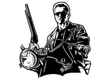 "TERMINATOR Schwarzenegger Size 5"" 3/4x6"" 3/4 Decal Sticker CUSTOM SIZE UP TO 23"""