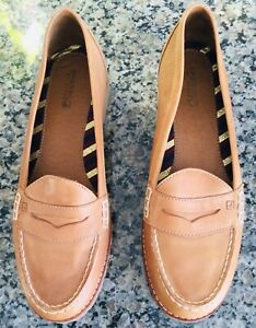 """SPERRY TOPSIDER Loafers~9M~Leather Upper~Light Brown~Rubber Soles~1"""" Block Heel"""