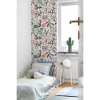 Non-Woven wallpaper Home Forest Life Owl Fox Birds Leaves Trees Woodland colors