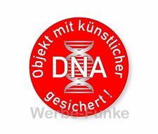 5 Sticker Objekt mit künstlicher DNA gesichert 50 mm, künstliche DNA