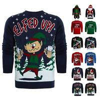 Mens Slogan Ugly Xmas Novelty PUB HOODY FESTIVE Christmas Jumper Knitwear Top