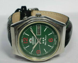 Vintage Orient Automatic Day Date Movement Analog Dial Mens Wrist Watch WU302 F