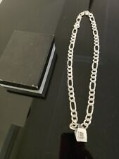 "925 Italy Sterling Silver Figaro Chain Necklace 24"" with Box"