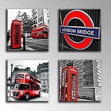 Cuadro Moderno Fotografico base madera, Londres, Bus, Cabina Telefonica