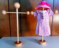 """Handmade Stand For Doll Dresses or Hats ~ Up To 10"""" Doll ~ Wood ~ Made in USA"""