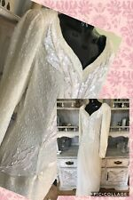 Vintage Sequin Beaded Long Ivory Gown Sz 4 Robert Anthony (has small hole)