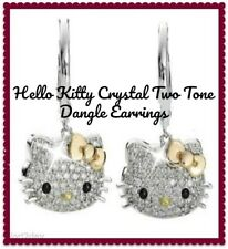 Hello Kitty Two Tone Gold Silver Rhinestone 925 Silver Dangle Earrings NWT