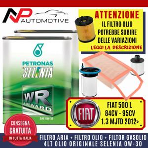 KIT TAGLIANDO FIAT 500L 1.3 MULTIJET 84-95CV 2012>+4 LITRI OLIO SELENIA WR 0W-30