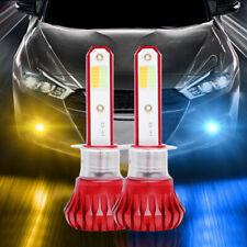 2x Universal H1 LED Fog Light Bulbs Kit 3000K Yellow+8000K Blue+Strobe Flashing