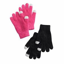 SO Girl's Size Small (4-6) Pink & Black Chenille Fabric 2-Piece Set Gloves NEW