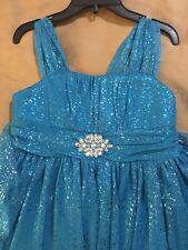 NWT BCX Girl Turquoise Sparkle Pageant Wedding Easter Flower Girl Dress, Sz 16