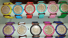 Job lot of 24 pcs Rubber Silicone Diamante gel Watches new wholesale - lot E