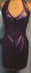 Ectomorph. Purple latex Rubber Halter Neck dress size XL
